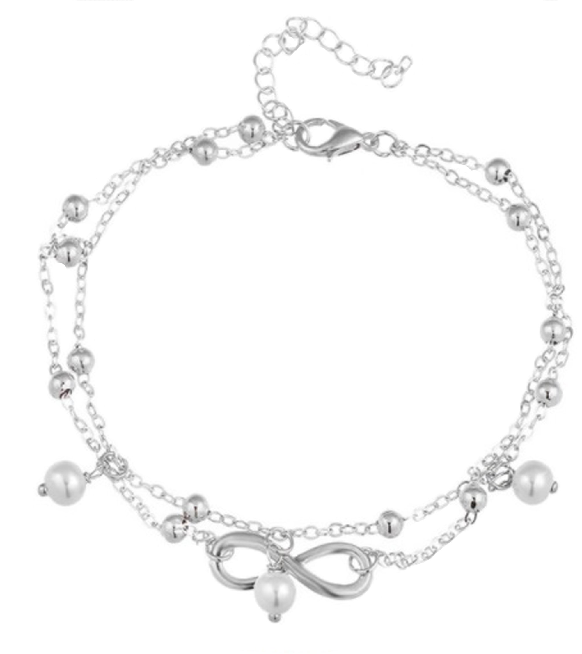 Blazing Autumn Ankle Bracelet Artificial Dangling Pearl Beads (Silver)
