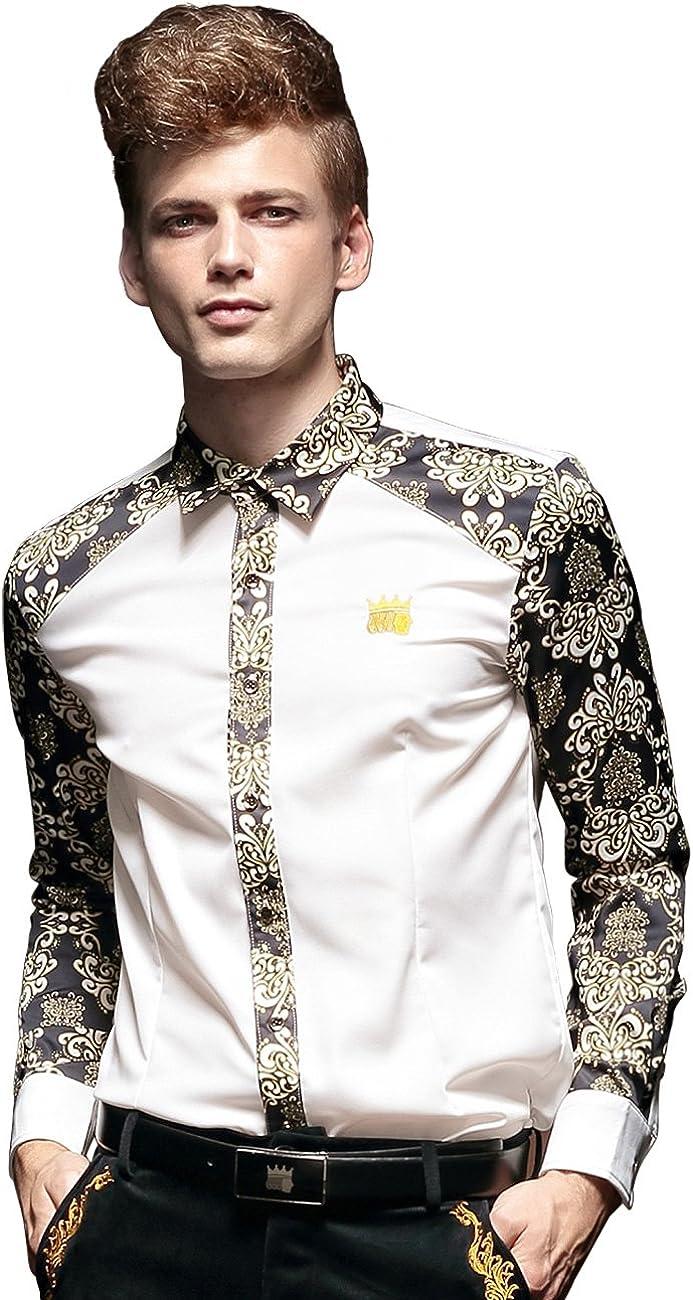 FANZHUAN Camisa Slim Fit Hombre Blanca Camisa Hombre Flores Camisas Hombre Boda Libre De Arrugas: Amazon.es: Ropa y accesorios