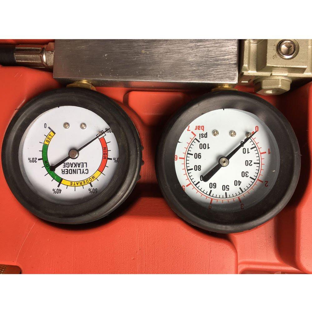 MILLION PARTS Engine Cylinder Compression Detector Leak Leakage Leakdown Leak-Down Tester Dual Gauge Kit Car Pressure Test Diagnostic Professional Tool Set with Case TU-21 Leak Down Tester