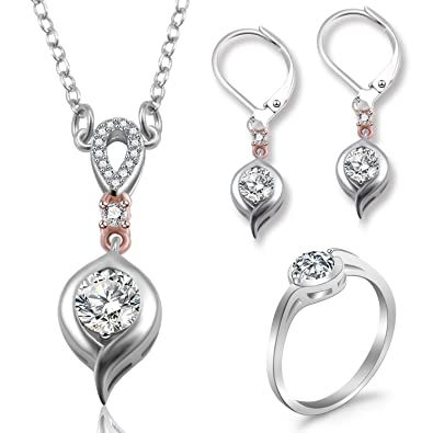 ba9788627b9d Juegos de joyas Set de joyas Mujer Plateado Collar Colgante Aretes y  Anillos Cubiz Zirconia con ...