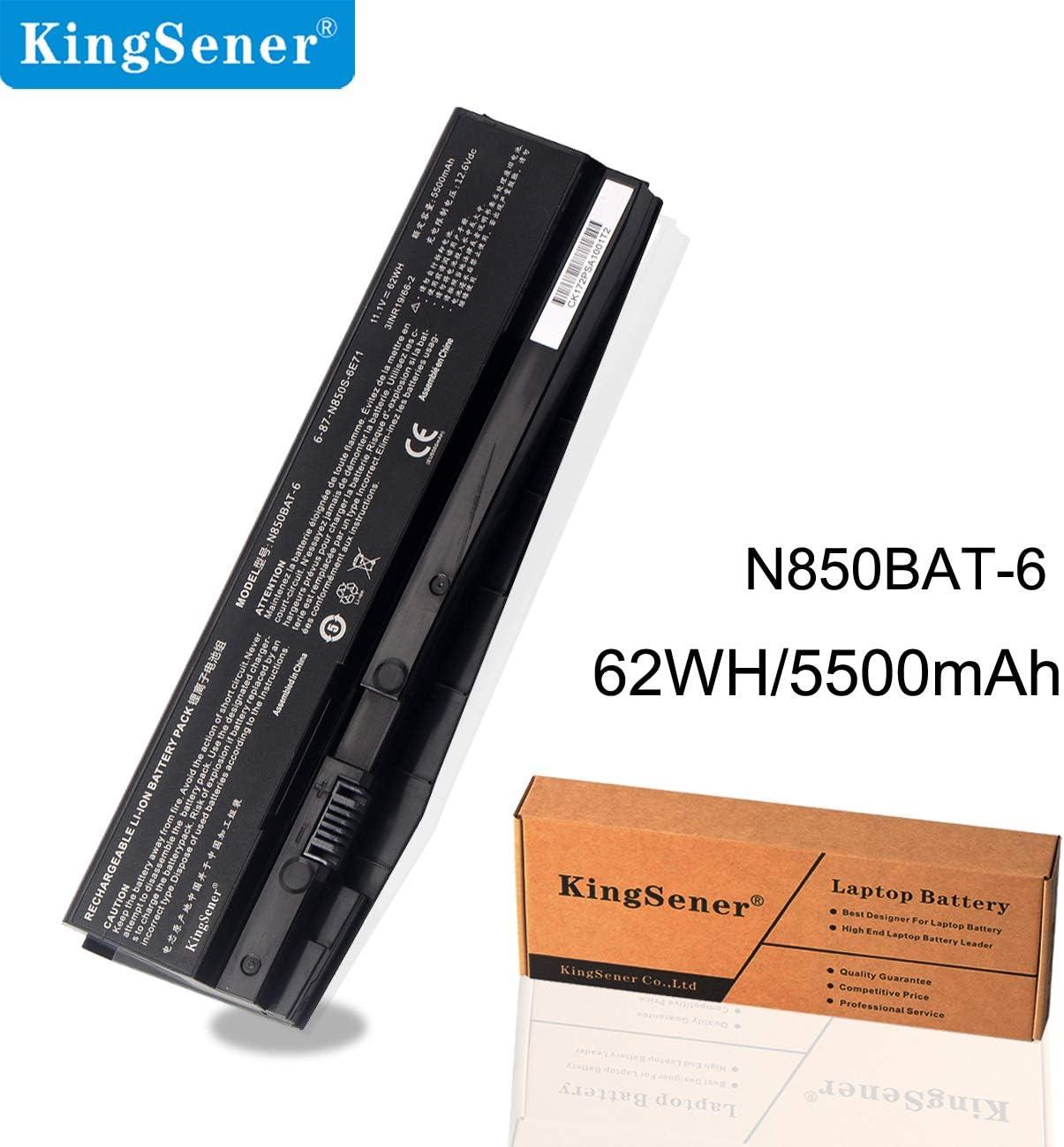 Kingsener 11.1V 62WH/5500mAh N850BAT-6 Laptop Battery for Clevo N850 N850HC N850HJ N870HC N870HJ1 N870HK1 N850HJ1 N850HK1 N850HN