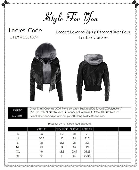 Ladies Code Women S Hooded Layered Zip Up Cropped Biker Faux