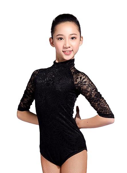 06d16ff8efc1 Amazon.com: GD1102 Kid Latin Modern Ballroom Dance Professional lace  Stitching Design and high Collar Leotard for Girl: Clothing