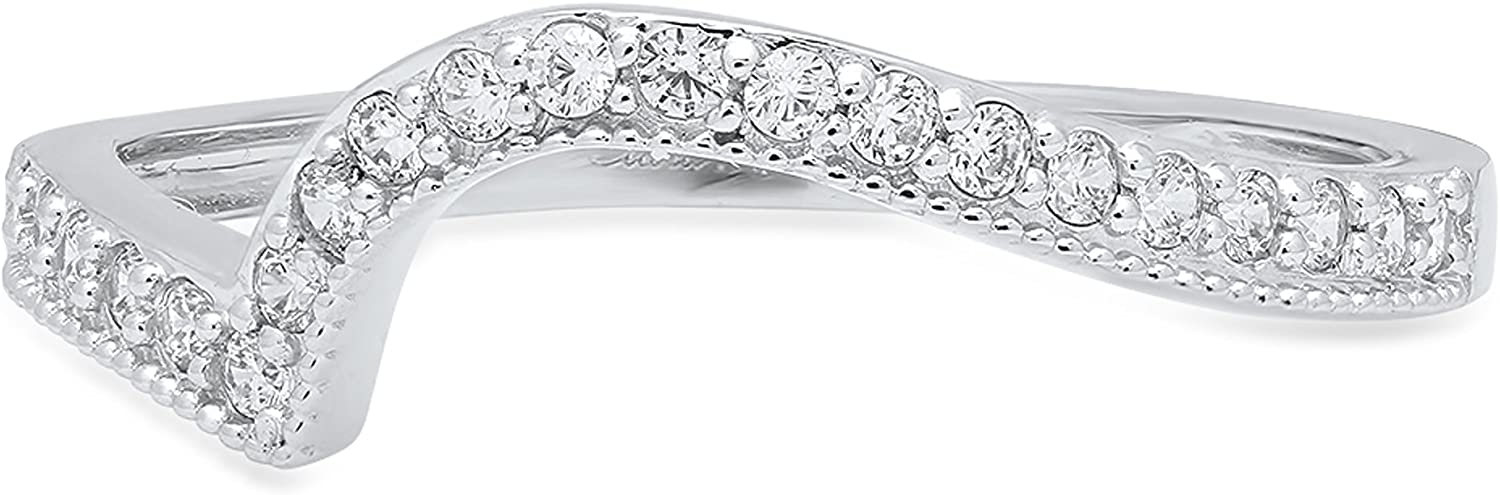 0.21 ct Brilliant Round Cut Simulated Diamond CZ Designer Curved chevron V shape Pave Bridal Anniversary Wedding Promise Ring Band in 14K White Gold