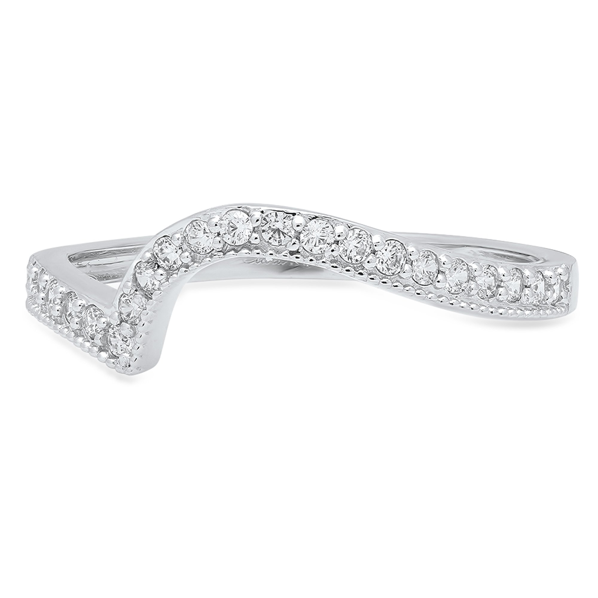 Clara Pucci 0.31 ct Brilliant Round Cut CZ Designer Curved Chevron V Shape Pave Ring Band in 14K White Gold by Clara Pucci (Image #1)