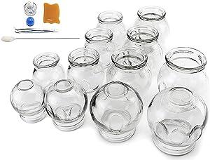 """拔罐 12 pcs Thick Glass Cupping Set for Professionals (2 Cups #5~2.87""""x4""""x3.5"""") (4 Cups #4~2.5""""x3.5""""x3"""") (4 Cups #3~2.25""""x3.12""""x2.8"""") (2 Cups #2~2.37""""x3""""x2"""") - We Pay Your Sales Tax"""