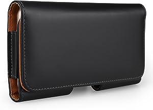 Executive PU Leather Horizontal Waist Belt Clip Holster Wallet Case Compatible for Apple iPhone XS Max / Samsung Galaxy Note 9 8 / S9+ S8+ / A6+ A7 A8+ A9 J8 / Nokia 7 Plus / HTC Desire 12+ / U12+