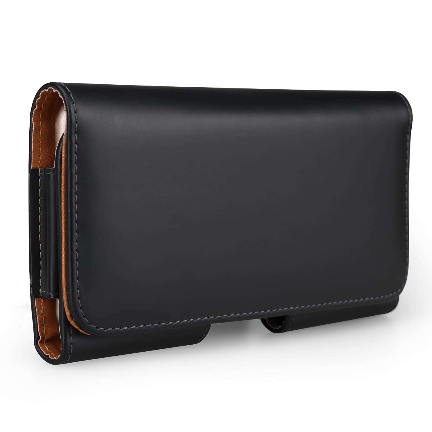 Black PU Leather Horizontal Belt Clip Wallet Case Holster for Apple iPhone X/LG Zone 4/Aristo 2/Aristo/Tribute Dynasty/K20 V/Phoenix 3/Fortune/K4/K8/K10