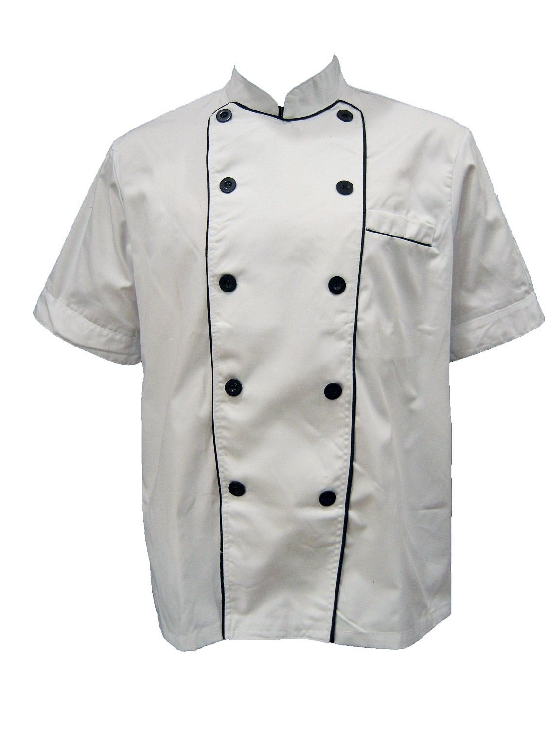 Chef Jacket with Black Lining (Short Sleeves) Size 44, X-Large