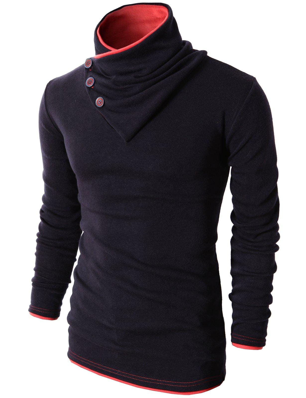 H2H Mens Fashion Turtleneck Slim Fit Pullover Sweater Oblique Line Bottom Edge NAVY US M/Asia L (KMTTL040)