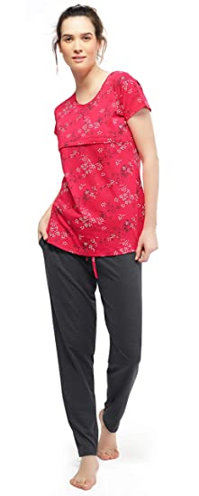 918a941c2b ZEYO Women s Cotton Red   Antara Black Feeding Night Suit