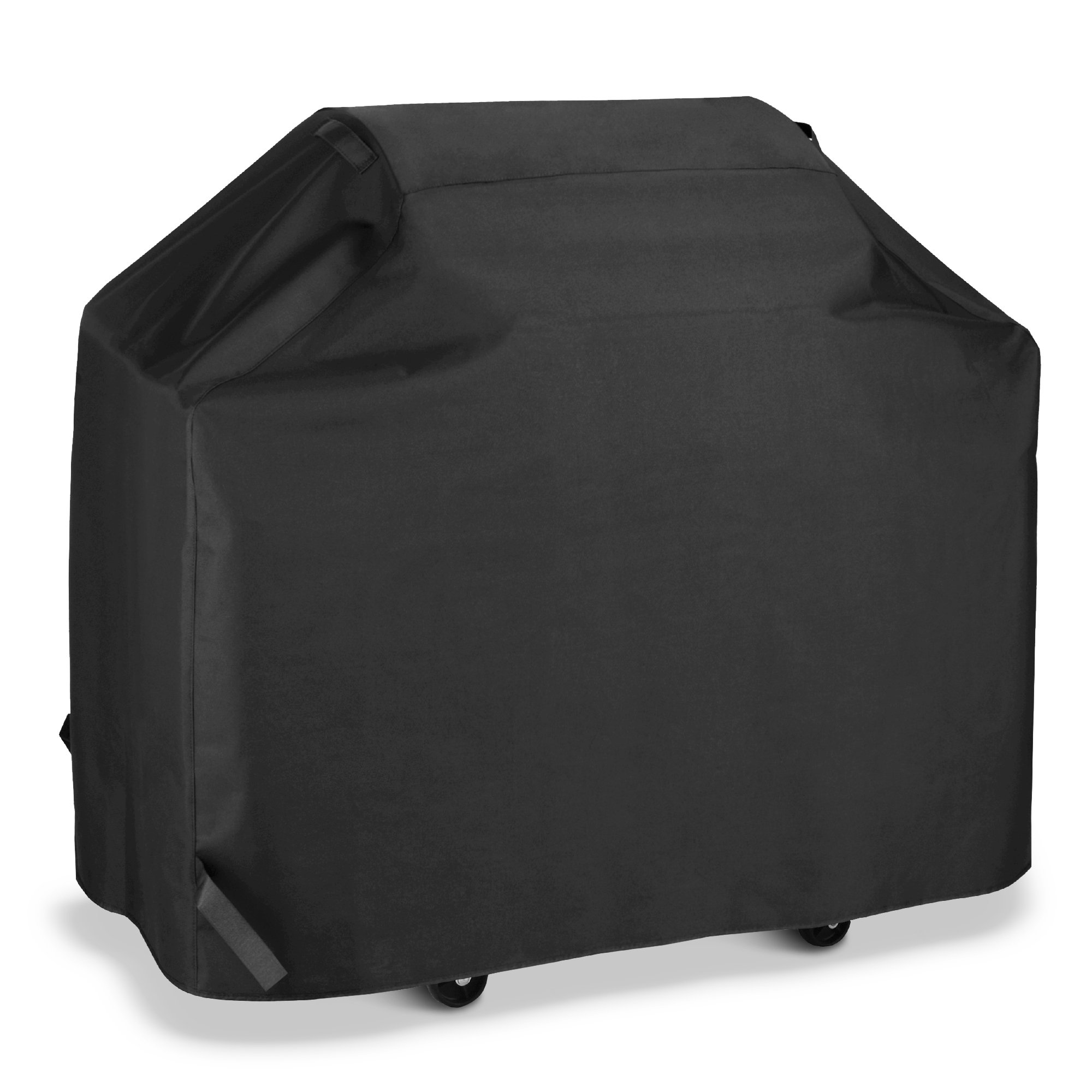 SunPatio BBQ Grill Cover 55 Inch, Outdoor Heavy Duty Waterproof Barbecue Gas Grill Cover, UV and Fade Resistant, All Weather Protection for Weber Char-Broil Nexgrill Grills and More, Black