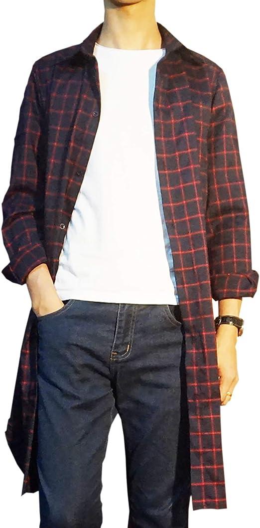 [Make 2 Be] ロング チェックシャツ 長袖 ロング丈 メンズ スリム ネルシャツ MF82