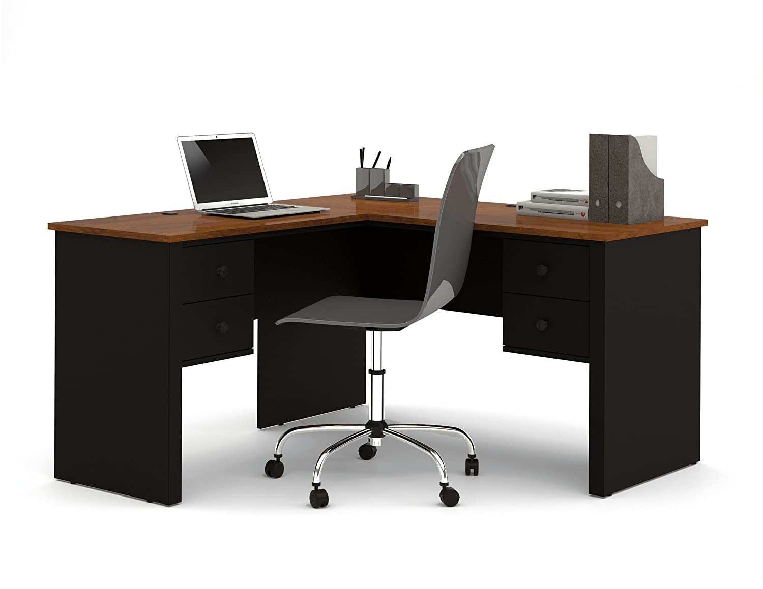 Lovely Amazon.com: Bestar Somerville L Shaped Desk, Black And Tuscany Brown:  Kitchen U0026 Dining