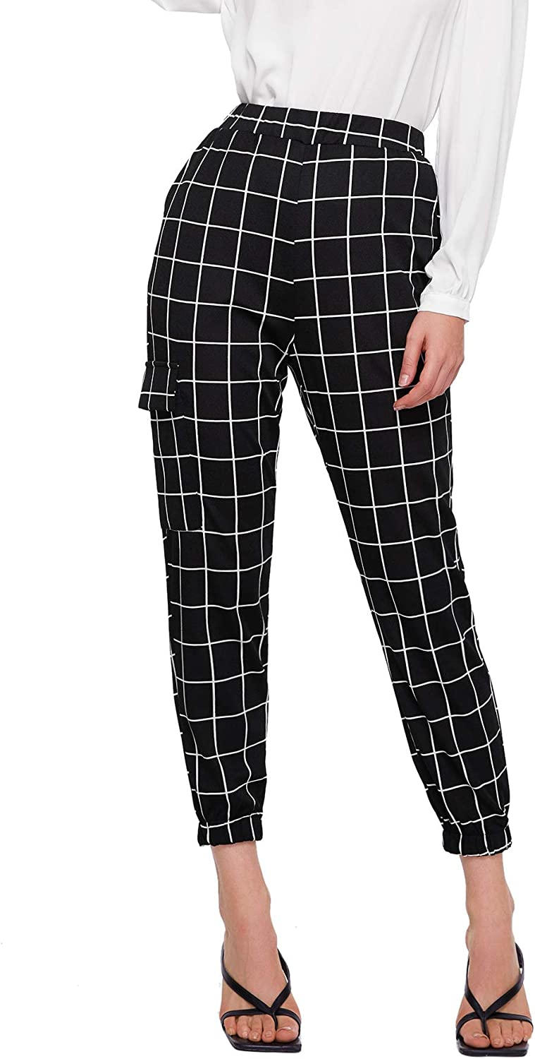 SOLY HUX Women's Casual Elastic Waist Workout Track Pants with Pockets