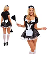SOWEST French Maid Fancy Dress Costume Outfit With Headdress