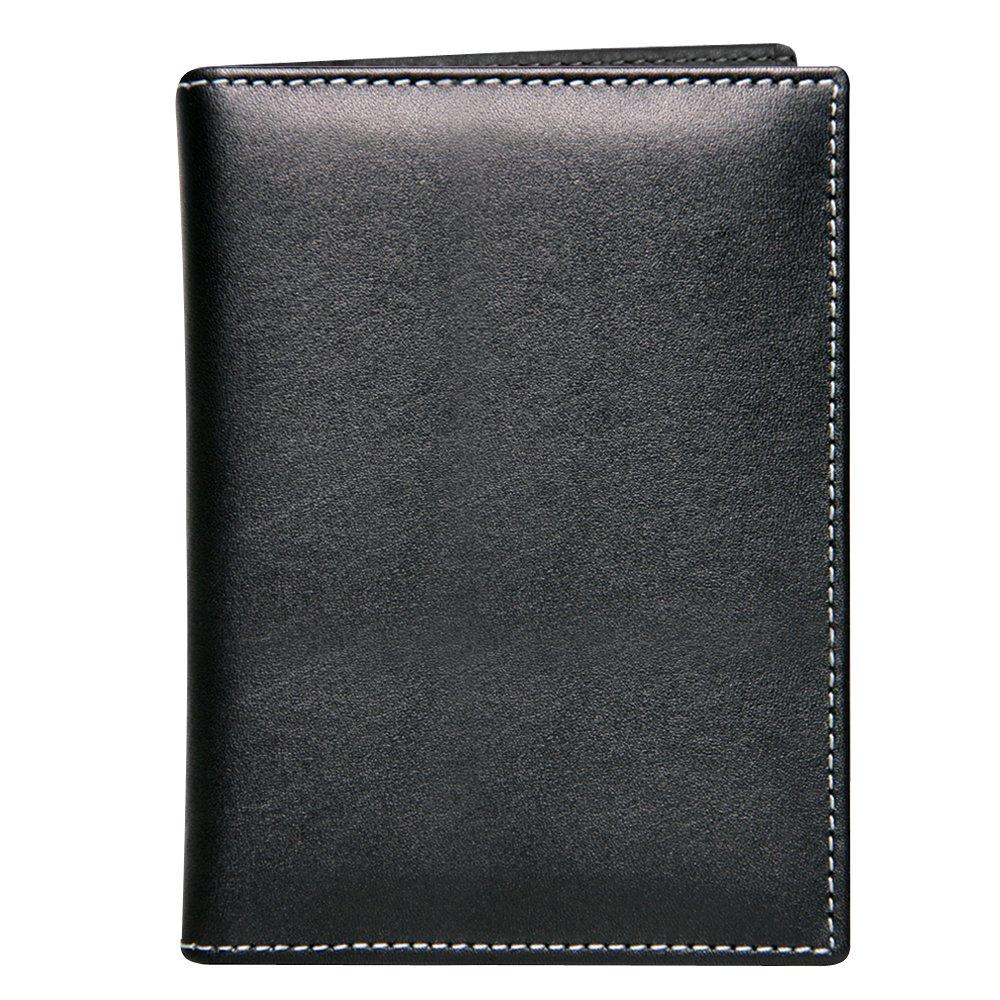 Stewart/Stand RFID Blocking Slim Minimalist Leather Exterior Stainless Steel Passport Wallet, Black