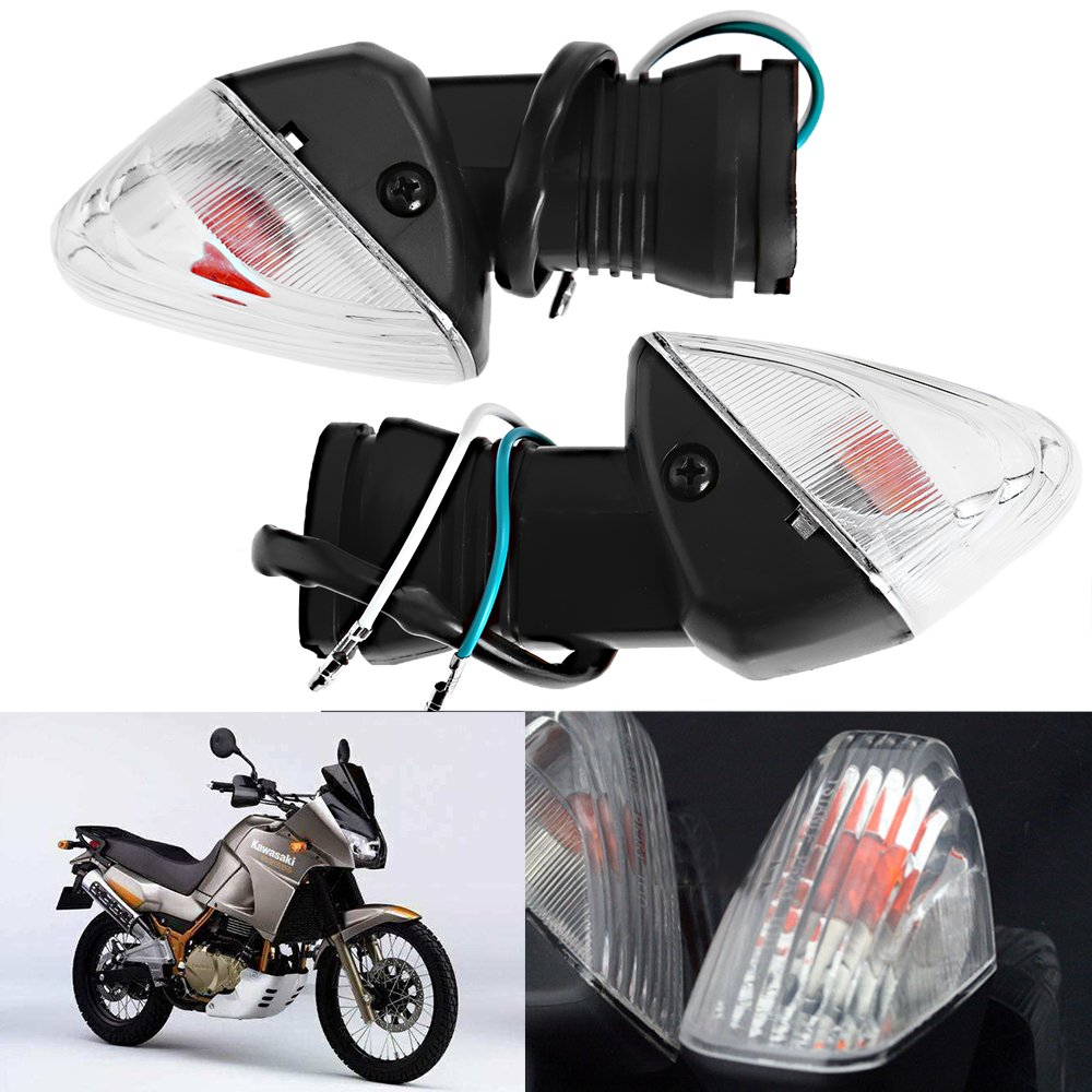 Turn Signal Indicator Light Stop Light for Kawasaki Ninja ZX-6R, KLE 500, KLE 650 (One Pair, Fits Front or Rear) (Clear Lens)