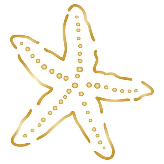 Starfish Stencil - 6 x 6.5 inch (L) - Reusable Ocean Nautical Seashore Stencils for Painting - Use on Walls, Floors, Fabrics, Glass, Wood, and More…