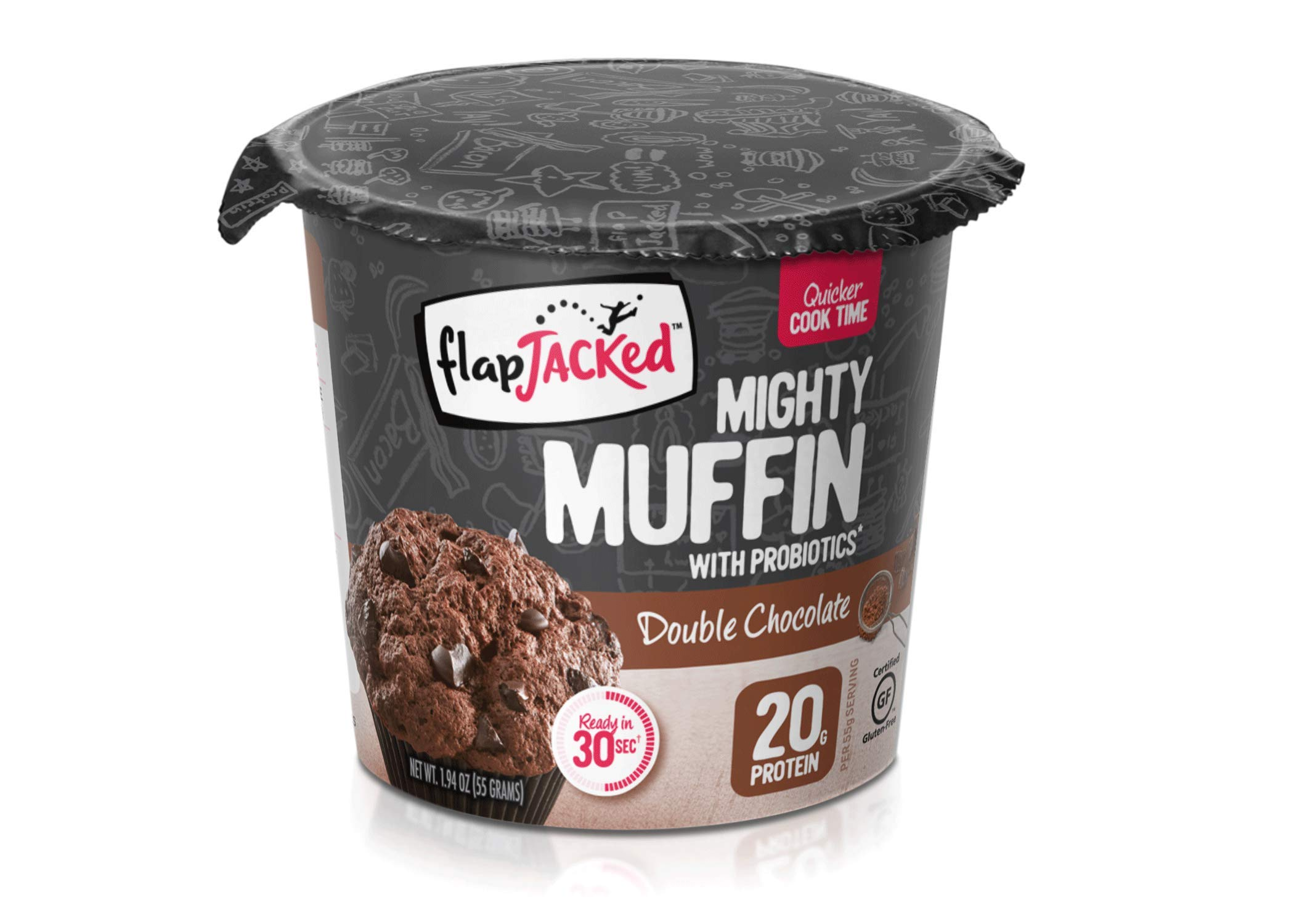 FlapJacked Mighty Muffins, Gluten-Free Double Chocolate, 12 Pack by FlapJacked