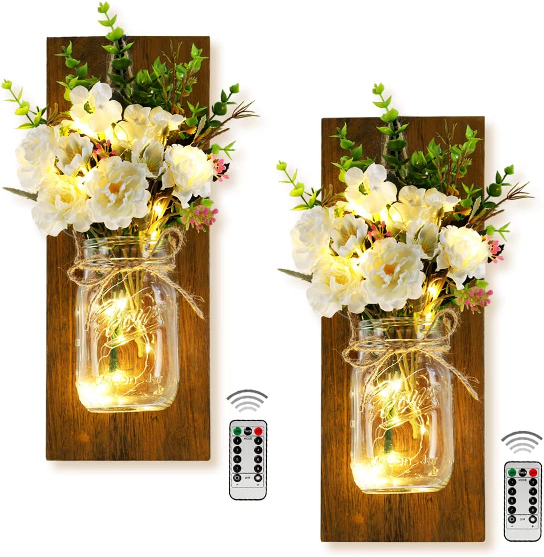 Decorative Mason Jar Wall Decor Rustic Wall Sconces Home Decoration Wall Decorations for Living Room Green Fake Plant Artificial Flowers and LED Strip Lights Design for Home Bathroom Room Decor