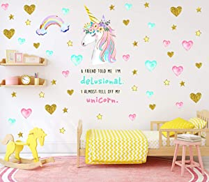Sionoiur Unicorn Wall Decals Wall Decor Unicorn Stars Rainbow Colorful Quotes Vinyl Stickers Mural Home Decor Bedroom Nursery Gift for Girls Kids Large