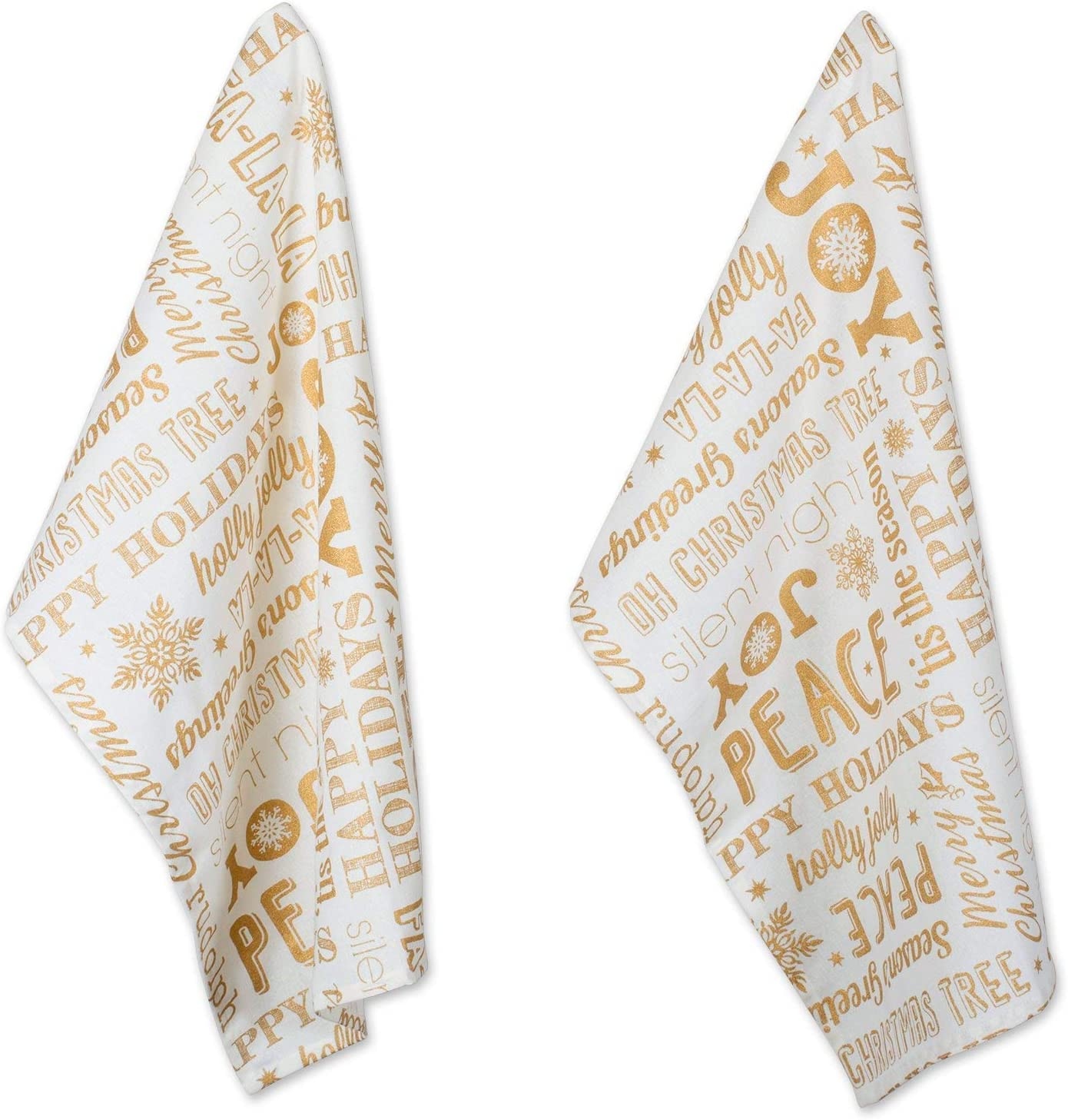 DII Cotton Decorative Christmas Metallic Dish Towel 18 x 28 Set of 2  Oversized Kitchen Dish Towels  Perfect Holiday  Hostee  Housewarming Gift-Christmas Collage Gold