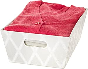 "Creative Scents Fabric Storage Basket for Shelves - (13.75"" x 9.75"" x 5"") Decorative Bins for Closet Cloth Nursery, Great for Toys and Gift Box, Ideal for Home and Bathroom Organization (Off-White)"