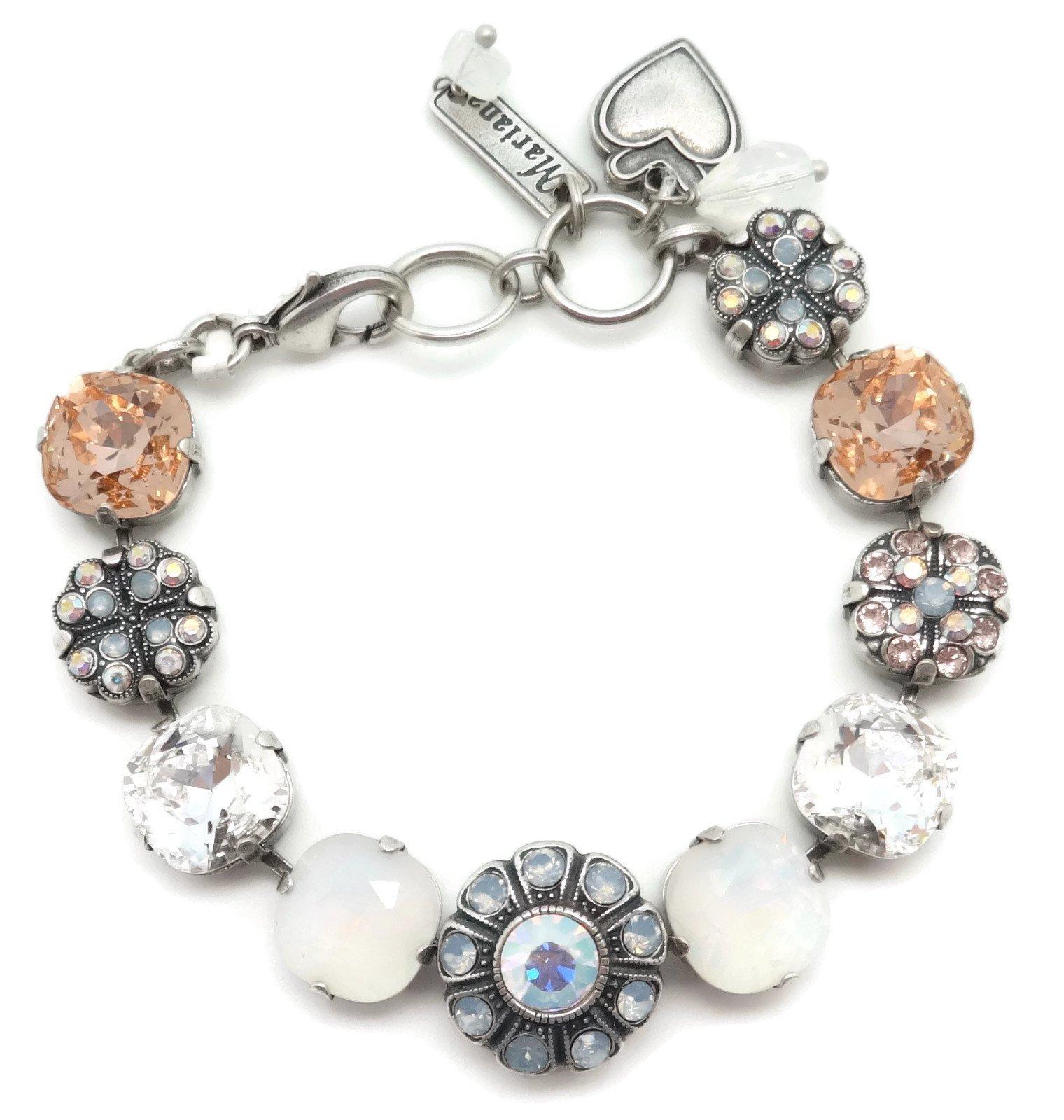 Mariana Swarovski Crystal Silver Plated Bracelet Blue White Peach Cushion Cut Mosaic 1055 Cosmo