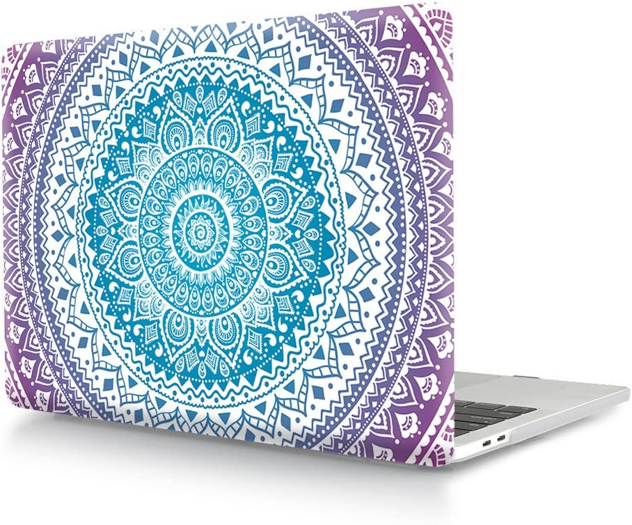 HRH Mandala Flower Blue Purple Design Plastic Hard ShellLaptop Body Shell Protective Hard Case for MacBook Pro 15 Case 2018 2017 2016 Release A1990/A1707 with Touch Bar