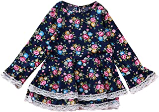 Newborn Baby Girls Long Sleeve Lace Flower Print Princess Dress Outfits by GorNorriss