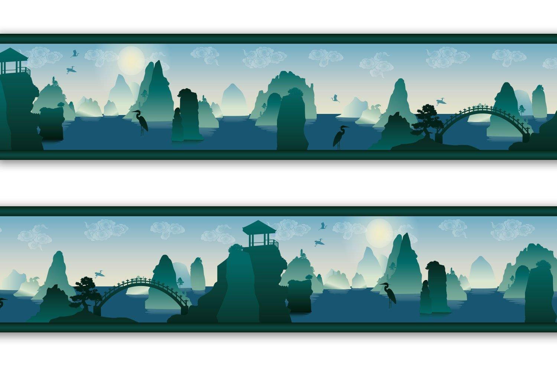 Kleisterbordü re 'Chinalandschaft', 4-teilig 520x15cm, Tapetenbordü re, Wandbordü re, Borte, Wanddeko,Asia, chinesisch wandmotiv24