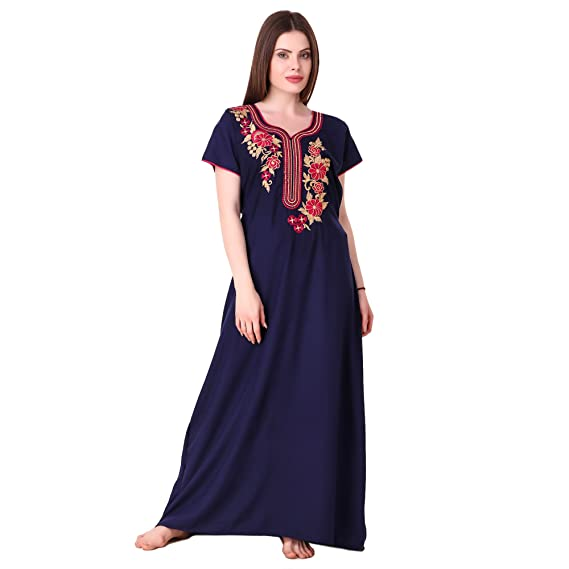 19d21aaee MILIT Best Cotton Long Embroidered Nighty for Women s(Bust Size Upto 44  inches) Blue