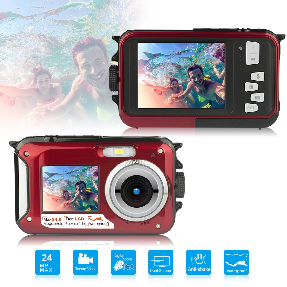 Dual Screen Waterproof HD Digital Camera Underwater Sports Video Recorder Camera, 24MP 1080P Point and Shoot Digital DV Recorder Camera-Red