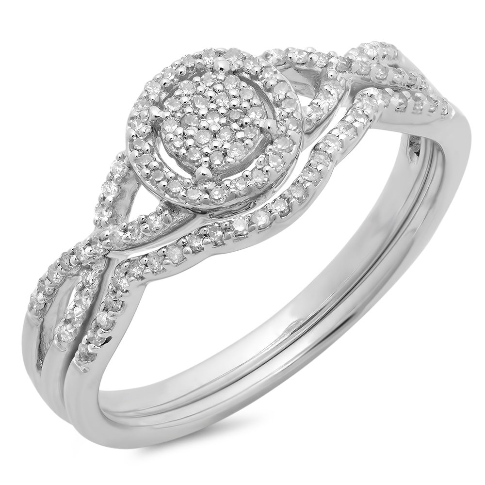 0.25 Carat (ctw) 10K White Gold Diamond Twisted Split Shank Engagement Ring Set 1/4 CT (Size 9)