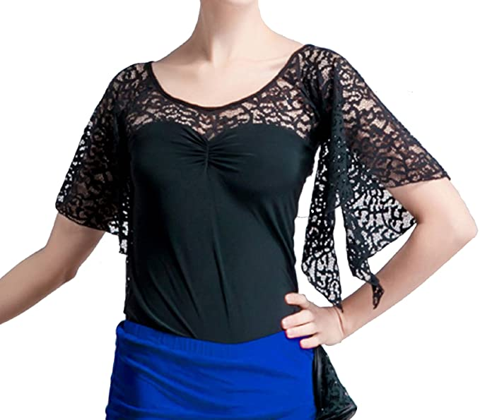 5b8c07627d3a49 JS CHOW Women's Black Ballroom Modern Latin Salsa Cha Cha Lace Dance Blouse  Top