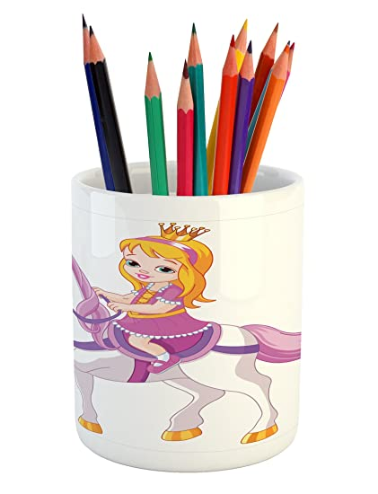 Princess Pencil Pen Holder By Lunarable, Cartoon Kid On A Fantasy Horse  Mare With Pink