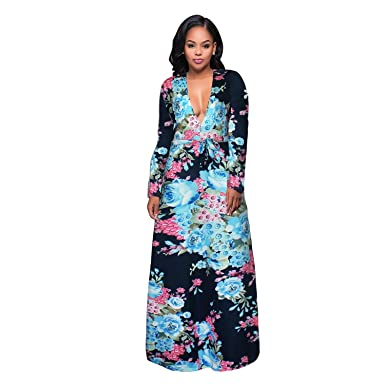 129d395e3d3 HAOOHU Women s Print V-neck long Sleeve Wrap Waist Long Maxi Party Dress (L