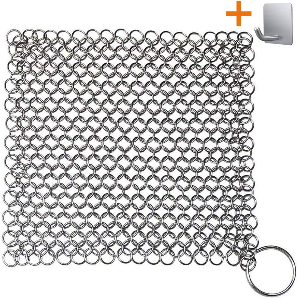 """Chainmail Scrubber, Cast Iron Skillet Cleaner, KoHuiJoo 8"""" x 8"""" 316L Chainmail Scrubber Stainless Steel Chain Skillet Cleaner for Pre-Seasoned Pan Dutch Ovens Cast Iron Pans Cleaning (8""""x8"""" Square)"""