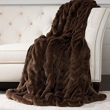 Amazon.com: Ethan Allen Faux Fur Throw, Mink: Home & Kitchen