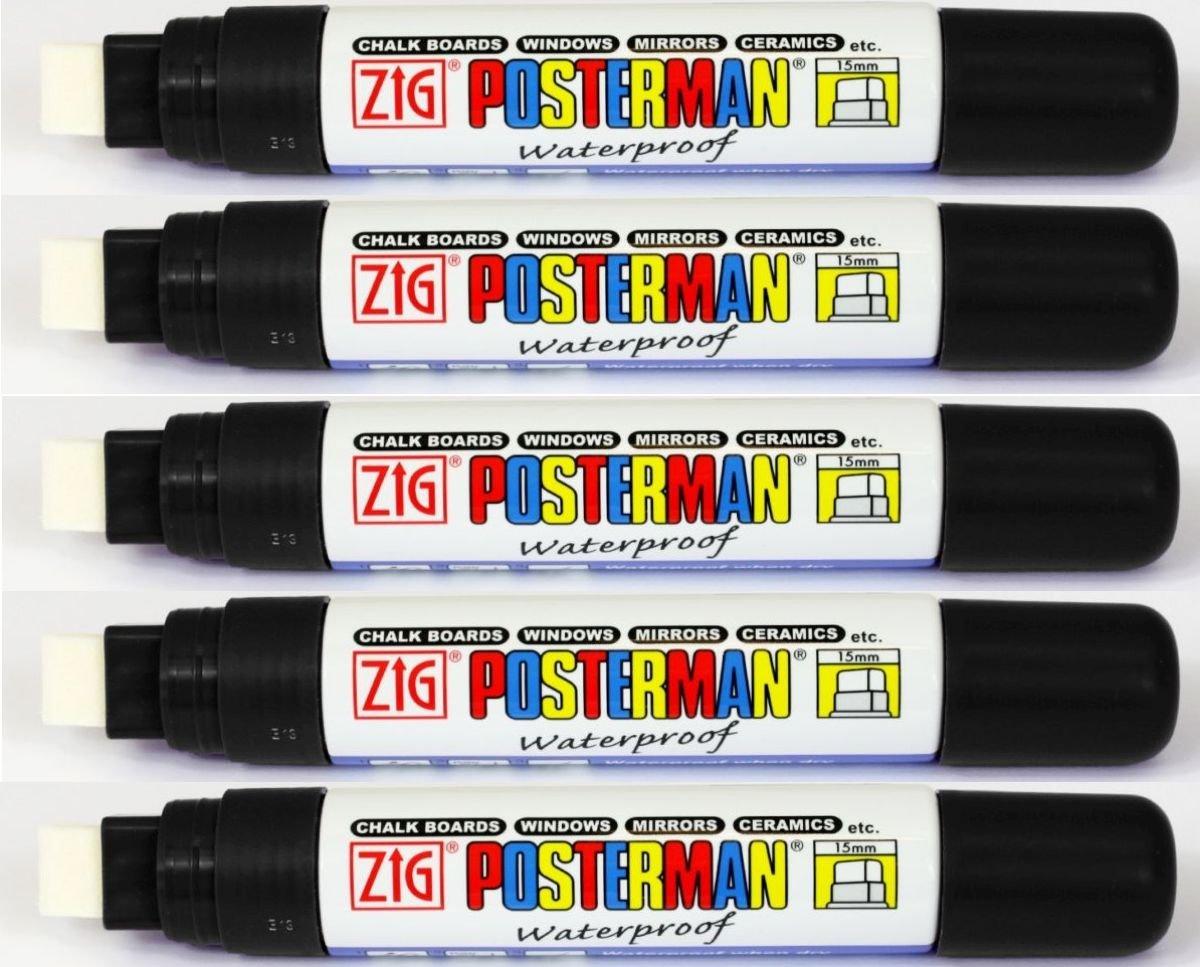 Zig Posterman Fine 1mm Chalk Marker Pens Waterproof Whiteboard Glass Metal Wood