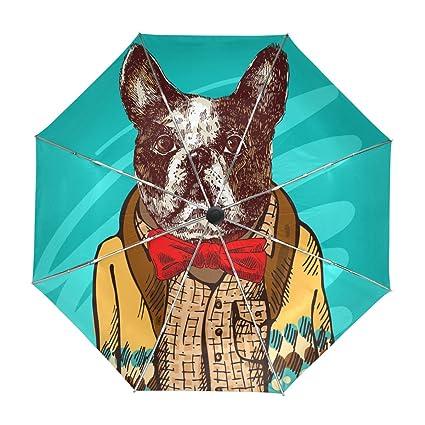 ALAZA Viajes Dogo Divertido Paraguas de Apertura automática Cerca de Protección UV a Prueba de Viento