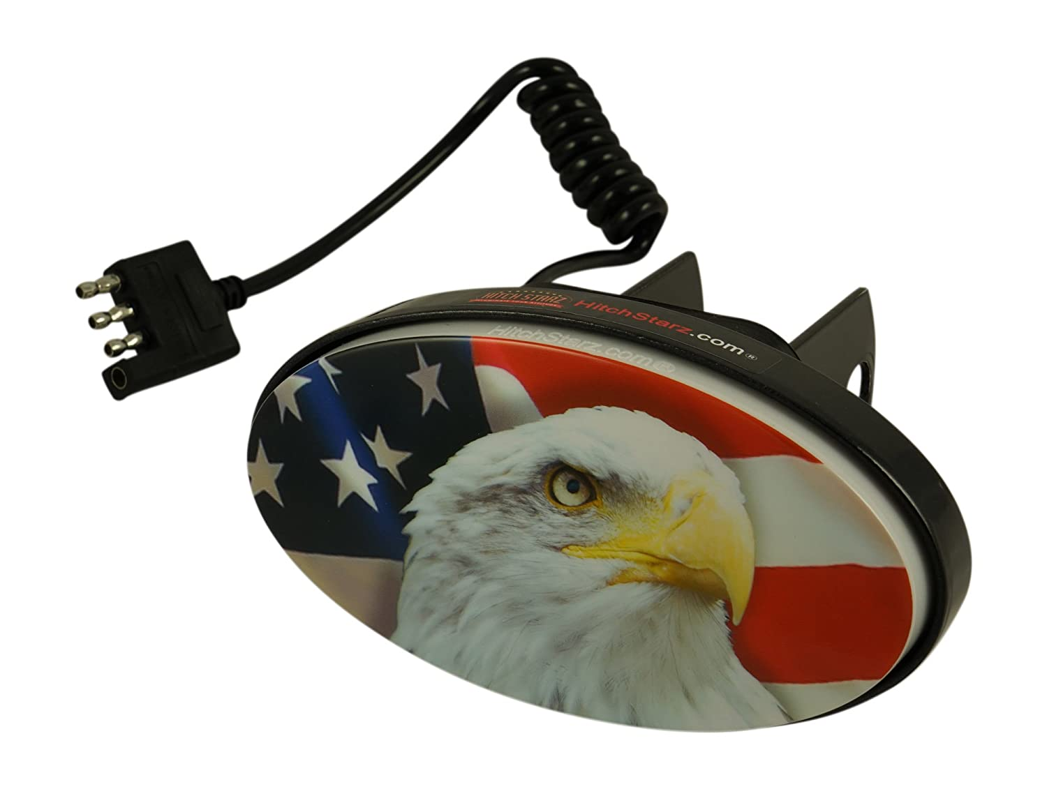 Hitch Starz - Illuminate Your Attitude. The original changeable hitch cover. (US Flag/Eagle) Universal fit 1.25' & 2' trailer hitch receivers. Hitch Starz® HS88501-UE