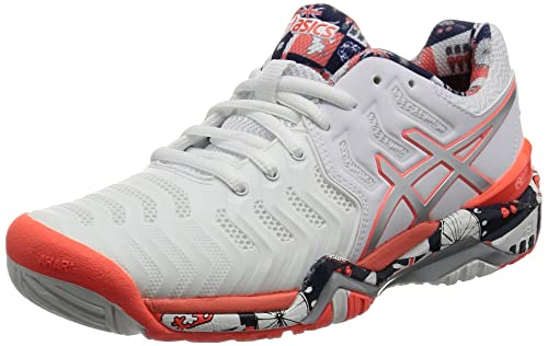 e2497499001b ASICS Women s Gel-Resolution 7 L.E. London White Silver Flash Coral Tennis  Shoes