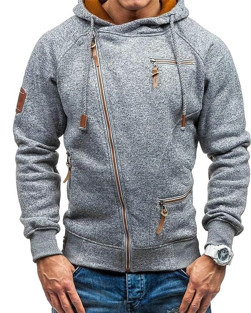 Cromoncent Mens Burnout Drawstring Oblique Zipper Pocket Casual Hooded Sweatshirts