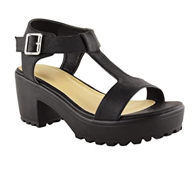 e832cd8c706a Ladies Women Mid Block Heel Chunky Platform Cleated Sole T Bar Sandal Shoes  Size  Amazon.co.uk  Shoes   Bags