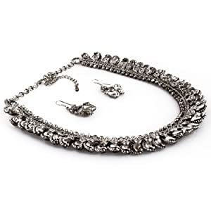 ChicKraft Stringed Beauty Metal Silver Necklace and Earring Set