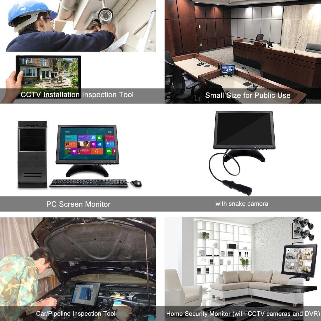 Toguard 101 Inch Portable Computer Monitor Hd Security 1280x800 Sumsung Ips Display With Usb Vga Hdmi Av Bnc Input Earphone Speaker