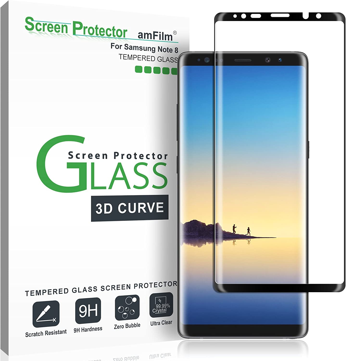 Amazon Com Amfilm Glass Screen Protector For Samsung Galaxy Note 8 Full Screen Coverage 3d Curved Tempered Glass Dot Matrix With Easy Installation Tray Black