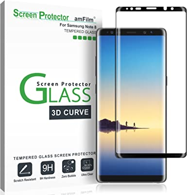 Amfilm Glass Screen Protector For Samsung Galaxy Note 8 Full Screen Coverage 3d Curved Tempered Glass Dot Matrix With Easy Installation Tray Black Amazon Com